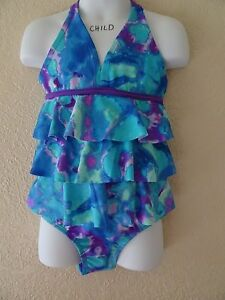 NWT JUSTICE SIZE 6 TIE DYE EFFECT SWIMSUIT ONE PIECE RUFFLE HALTER STYLE