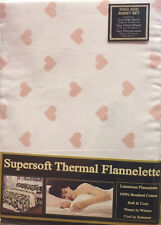 KING SIZE FLANNELETTE SHEET SET OFF WHITE HEARTS PEACH 100% BRUSHED COTTON