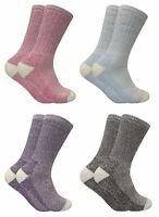 Womens 2 Pack Thick Colorful Antibacterial Winter Warm Wool Thermal Hiking Socks