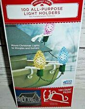 Holiday Time 100-pack Christmas Light Holder Clips Gutter Hook Holder Universal