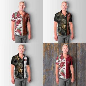 San Francisco 49ers Men Summer Button Down Shirt Short Sleeve Blouse Casual Tops