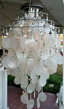 SOLAR CAPIZ SHELL WINDCHIMES/CHANDELIER WHITE CAPIZ CHIMES WITH SOLAR LIGHT