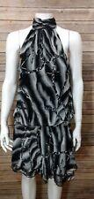 Venus Womens Chiffon Blouson Dress Sz 6 Black Gray Abstract Mock Neck Sleeveless