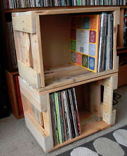 """Upcycled Repurposed 12"""" LP Vinyl Storage Box Crate Holds 100 LPs Stackable"""