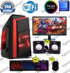 Fast Gaming PC Bündel Monitor Quad Core i5 16GB 1TB Sieg 10 2GB GT710 Fortnite