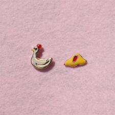 E814 Betsey Johnson Rooster Farm Morning Chick Cock Chicken Egg Stud Earrings US