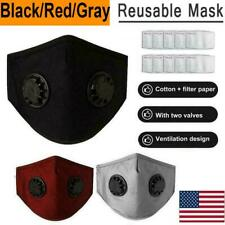 1/2/5x Reusable Mask With 2 Breathing Valves Face Mask +Activated Carbon Filters