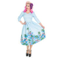 Hearts and Roses London Blue Pink Flamingo 1950s Retro Vintage Flare Swing Dress