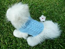 XXXXS handmade knit Blue dog sweater