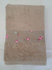 HANDMADE BEIGE COTTON HAND TOWEL - CLARKE AND CLARKE TAUPE ROSEBUD FABRIC