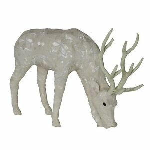 Fabric Standing Stag Accent Decor with Embroidered Pattern, Large, Gray