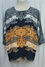 Alfani Top Sz 14 Blue Multi Paisley Tapestry Chiffon 3/4 Sleeve Casual Blouse