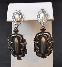 Navajo Native American Sand Cast Dangle Post Earrings 925 Repousse Allen Lee