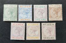 St Lucia QV Short Set Die II  SG43, 45, 47, 48, 50, 51, & 52 MH/HR