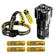 Nitecore TM28 6000 Lumen Flashlight w/4x IMR18650 +HC90 Headlamp w/NL186 Battery