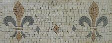 Exquisite Handmade Fleur De Lys Border Art Decor Marble Mosaic BD408