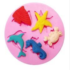 1x Sea Dolphin Crab Fish Starfish Silicone Mould Fondant Cake Modelling Mold LG