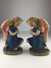 2 betende Engel Heiligenfigur Gips Statue Alt Antik Um 1900