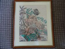More details for  vintage embroidery japanese geisha picture in wood frame 54 cm x 45 cm