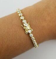 "14K Yellow Gold Over Bezel Round Diamond 7"" Tennis Box Clasp Bracelet"