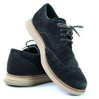 Cole Haan Lunargrand Black Suede Wingtip Oxford Casual Shoes C10229 Men Size 8.5