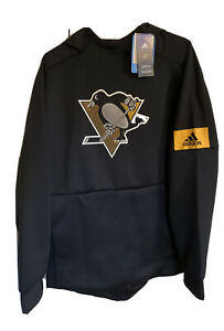 Adidas NHL Pittsburgh Penguins LOGO Mens Long Sleeve Hoodie Size Large - NWT