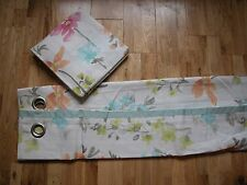 "NEXT BRIGHT PAINTERLY FLORAL CURTAINS EYELET LINED 53""X54"" 100% COTTON"