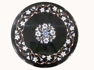 """12"""" Black Marble Inlay Table Top Pietra Dura Home And Garden Decor"""