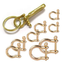 2x Brass D Shackle Carabiner Joint Clasp Hook Key Ring Chain Belt Loop Fastener