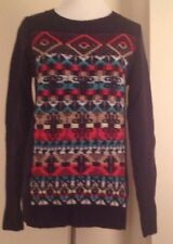 J.Crew Jacquard-stitch Fair Isle sweater LARGE CERISE ACORN TURQUOISE XL