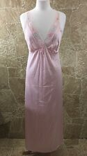 Vtg. Jolie Two Soft Silky Nightgown Robe S Pleats Lace Long Negligee Pink USA