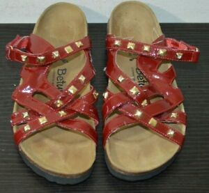 BIRKENSTOCK BETULA Sandal Size 39 Strappy Red with Studs DAMAGED READ - SEE PICS