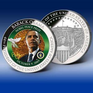Barack Obama's Nobel Peace Prize Commemorative Color Coin 2009 w/COA
