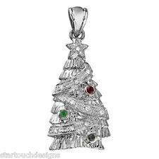 New 14k White Gold Christmas Tree Pendant