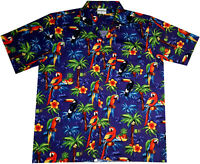 "Hawaiian Shirt ""Hawaiian Parrots blue"" / size S-8XL / 100% Cotton / Mens Hawaii"