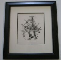 VINTAGE-CONTEMPORARY SURREALIST EMBROIDERY ART ABSTRACT MODERNIST MYSTERY ARTIST