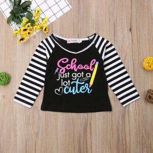 NEW 'School Just Got Cuter' Girls Black Long Sleeve Shirt Back to School 5T