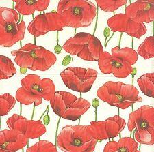 3 Serviettes en papier Cocktail fleurs Coquelicot Decoupage Paper Napkins Poppy