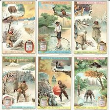 LOT: 6 VINTAGE TRADE CARDS LIEBIG'S FLEISCH-EXTRACT MEN GAME ANIMALS