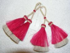 Double Mule Tail Horse Hair Tassels Pink & White (2) New!