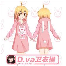 Dress Overwatch D.VA Cute Lolita Girl Pink Pullover Sweater Hoodie Long Coat  OW