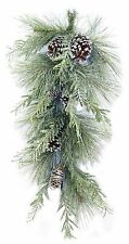 """Artificial Aurora Iced Mixed Pine Christmas Teardrop Swag 30"""" NEW XS81612TE30"""
