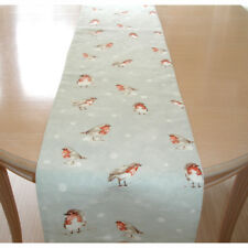 """SMALL 36"""" Robin Table Runner 3ft Christmas Robins Red Grey and White Bird 90cm"""