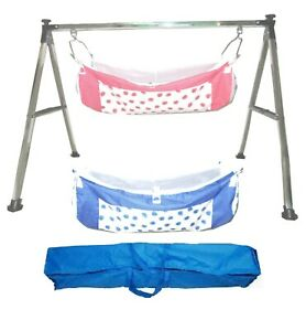 Folding Steel Cradle Square Pipe with Two cotton hammock with mosquito net KR12