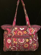 HUGE VERA BRADLEY CARNABY PATTERN RED PLEATED TOTE BAG SHOPPER GROCERY SHOPPING