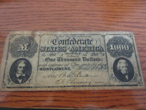 FACSIMILIE 1861 $1000 CONFEDERATE CSA AD NOTE SWORD BUNKER HILL 1964 ANNIVERSARY