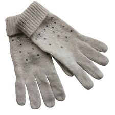 Gloves Woman Angora Wool Beige Strass Lenses Glass Bright Tacks 10