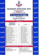 Teamsheet-Oldham Athletic v Fulham (31 de agosto de 1998/9)