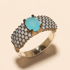 Natural Turkish Chalcedony Solitaire Ring 925 Sterling Silver Easter Jewelry New