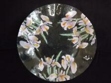 """Peggy Karr Pink Iris Fused Glass Plate Platter 13 1/2""""  Signed EXC"""